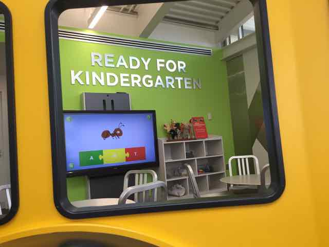 A sign that says Ready for Kindergarten at a columbus metropolitan library