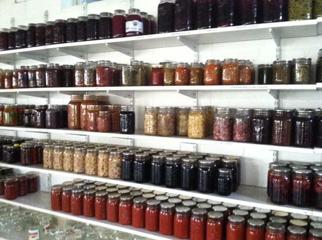 shelves of canned goods made by the amish family