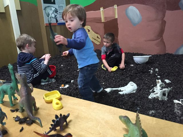 digging for dinosaurs at Little Buckeye Museum in Mansfield Ohio