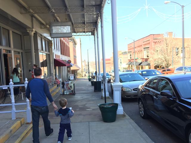 father and son in downtown Mansfield Ohio