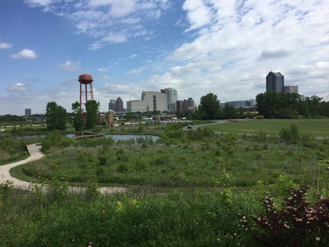 view of downtown Columbus from the Scioto Audubon Metro Park