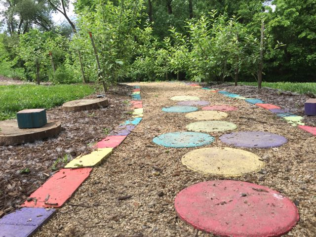 colorful walking path outside the nature center