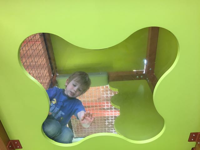 boy inside the play area inside the Nature Center