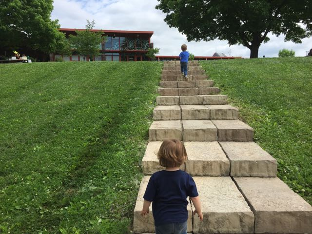 boys walking up the steps to the Nature Center