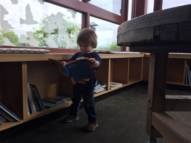 boy reading a book in the Nature Center