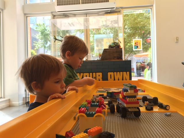 free indoor play at the LEGO store, Columbus, Ohio