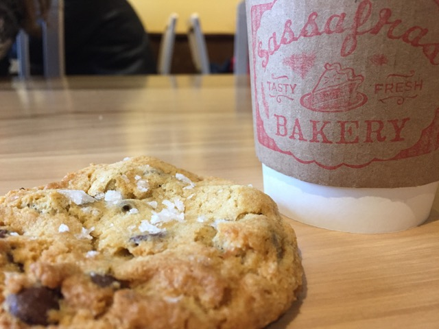 cookie and cup of coffee at Sassafras Bakery