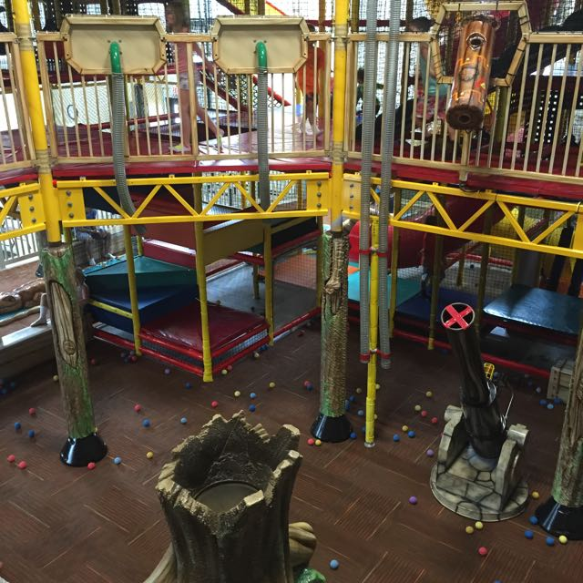 ball launchers inside the play area in Jungle Junction