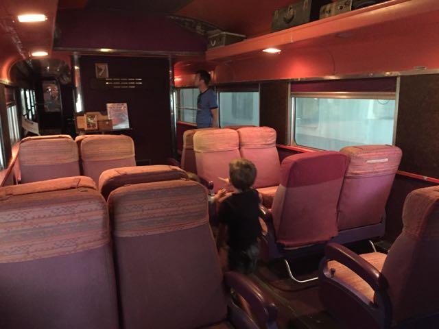 inside a train car at the NKP Railroad Museum