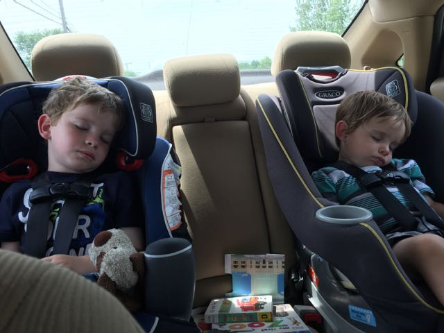 boys asleep in the car after a long day of fun in Bellevue, Ohio