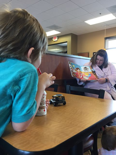 kid at story time at chic fil a on sawmill, columbus, ohio