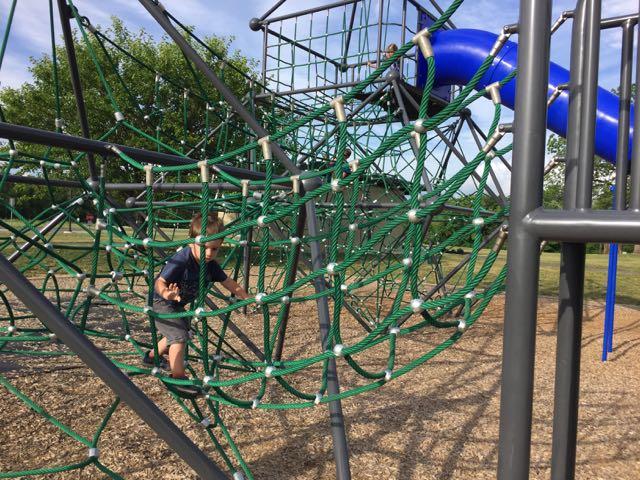 Scioto Grove Metro Park Playground rope climbing