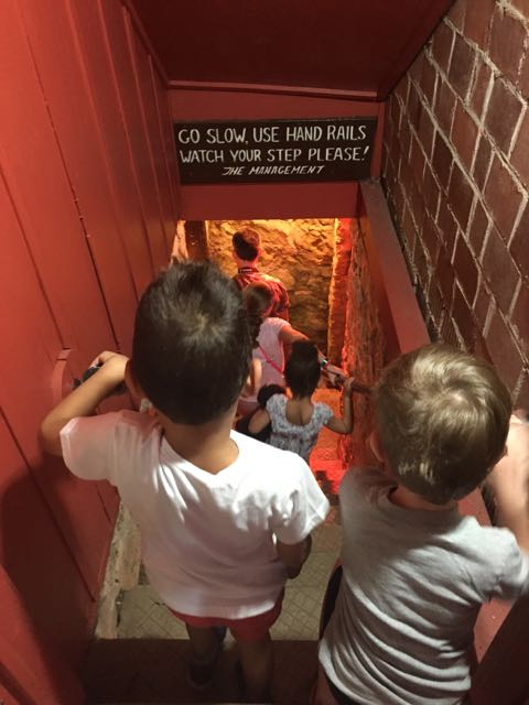 kids going down the steps into the caverns