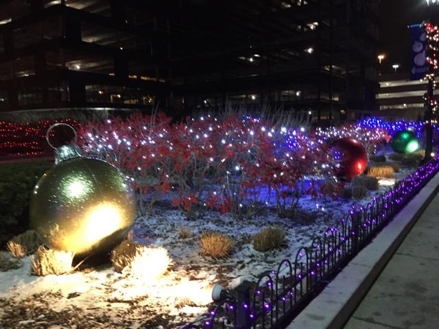 Christmas lights at Columbus Commons