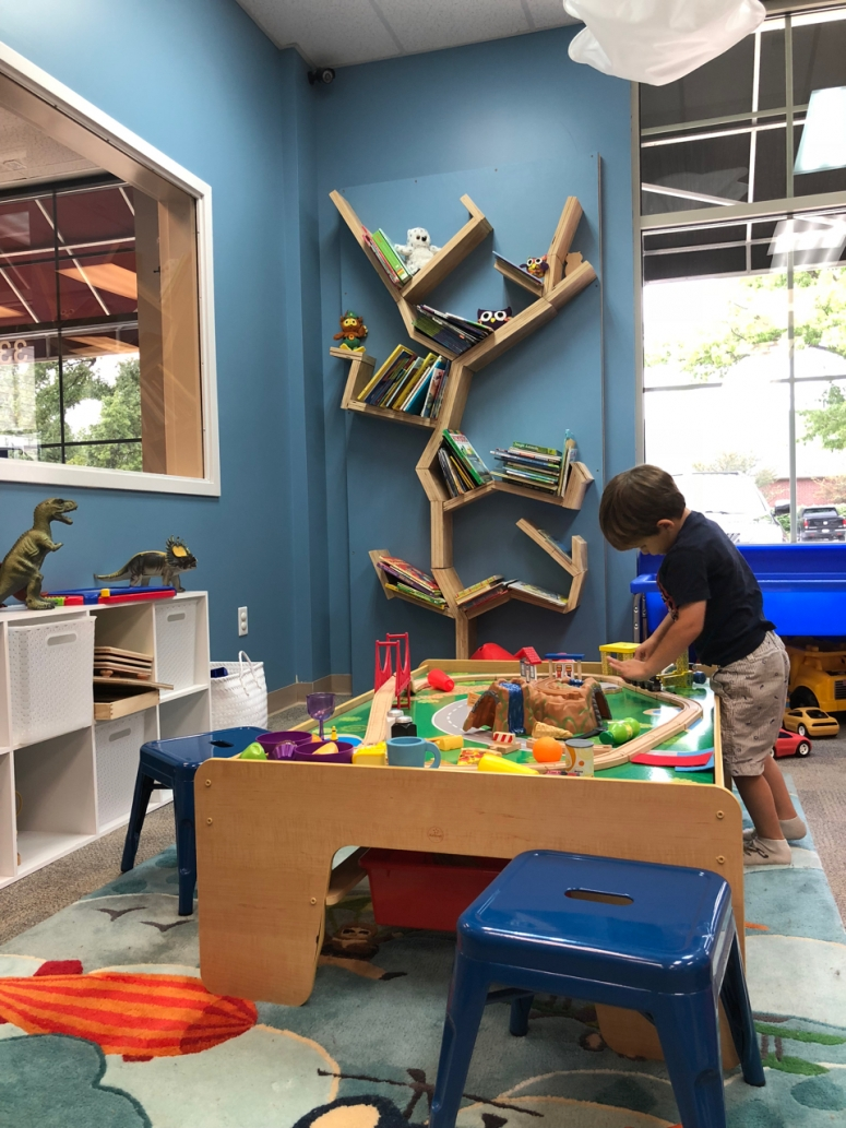 things to do with toddlers in columbus, boy playing at Hoot Studio