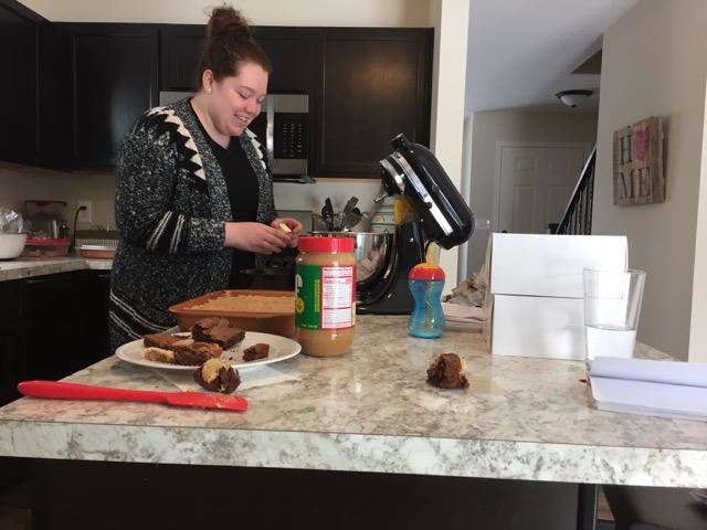 Amanda baking brownies
