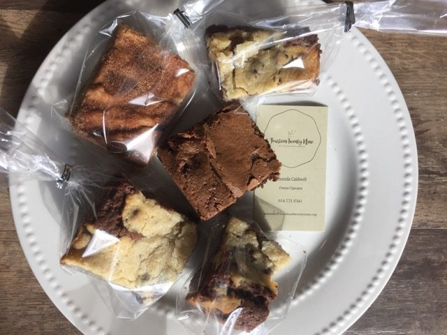 Plate of wrapped brownies