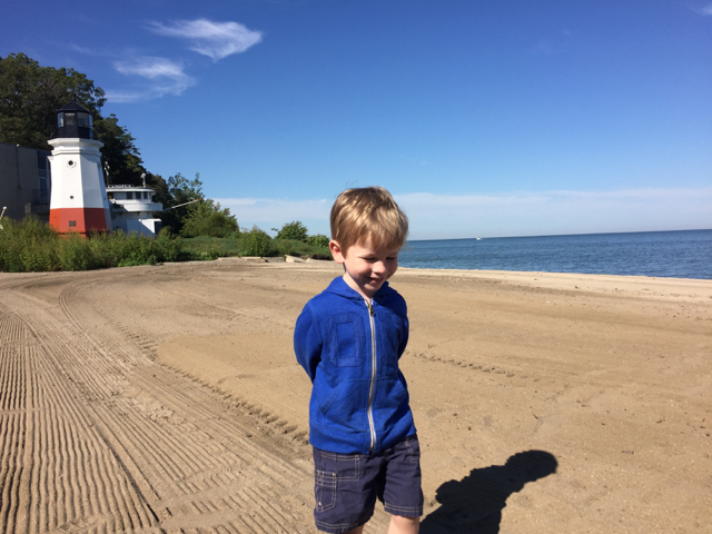Boy on Lake Erie beach
