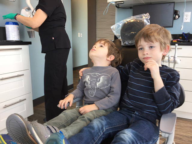 Kids in dental chair at River Park Dental