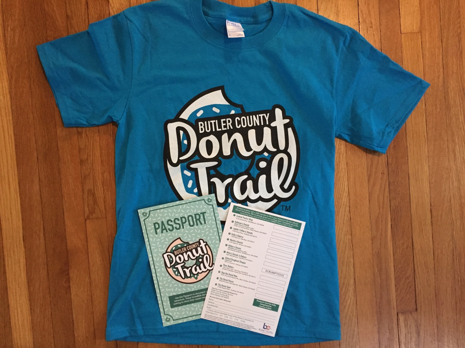 Butler County Donut Trail t-shirt and passport