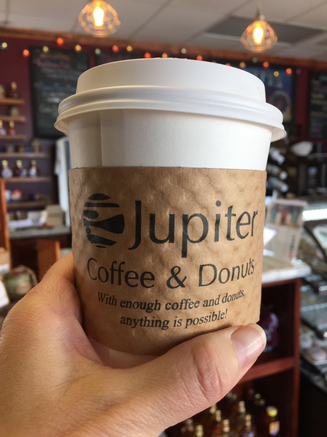 coffee cup at Jupiter Coffee and Donuts