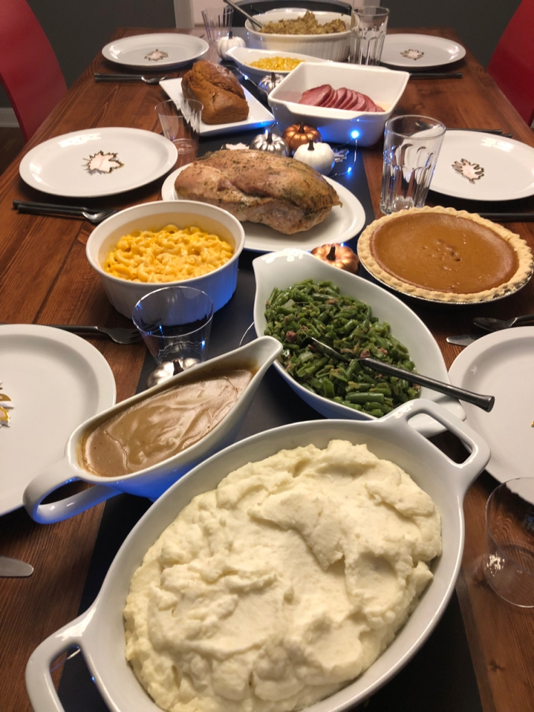Thanksgiving food on table