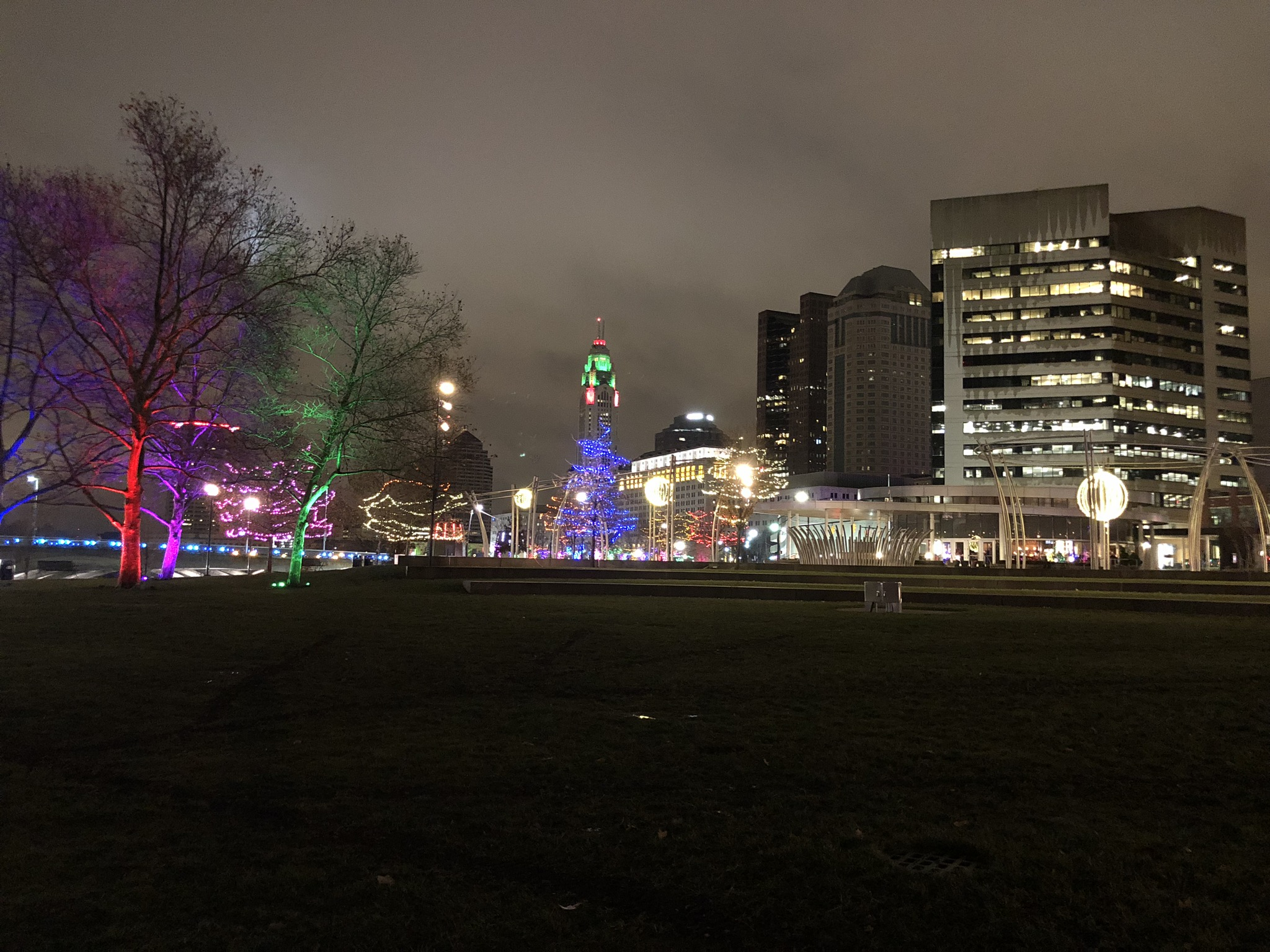 Holiday lights on the Scioto Mile