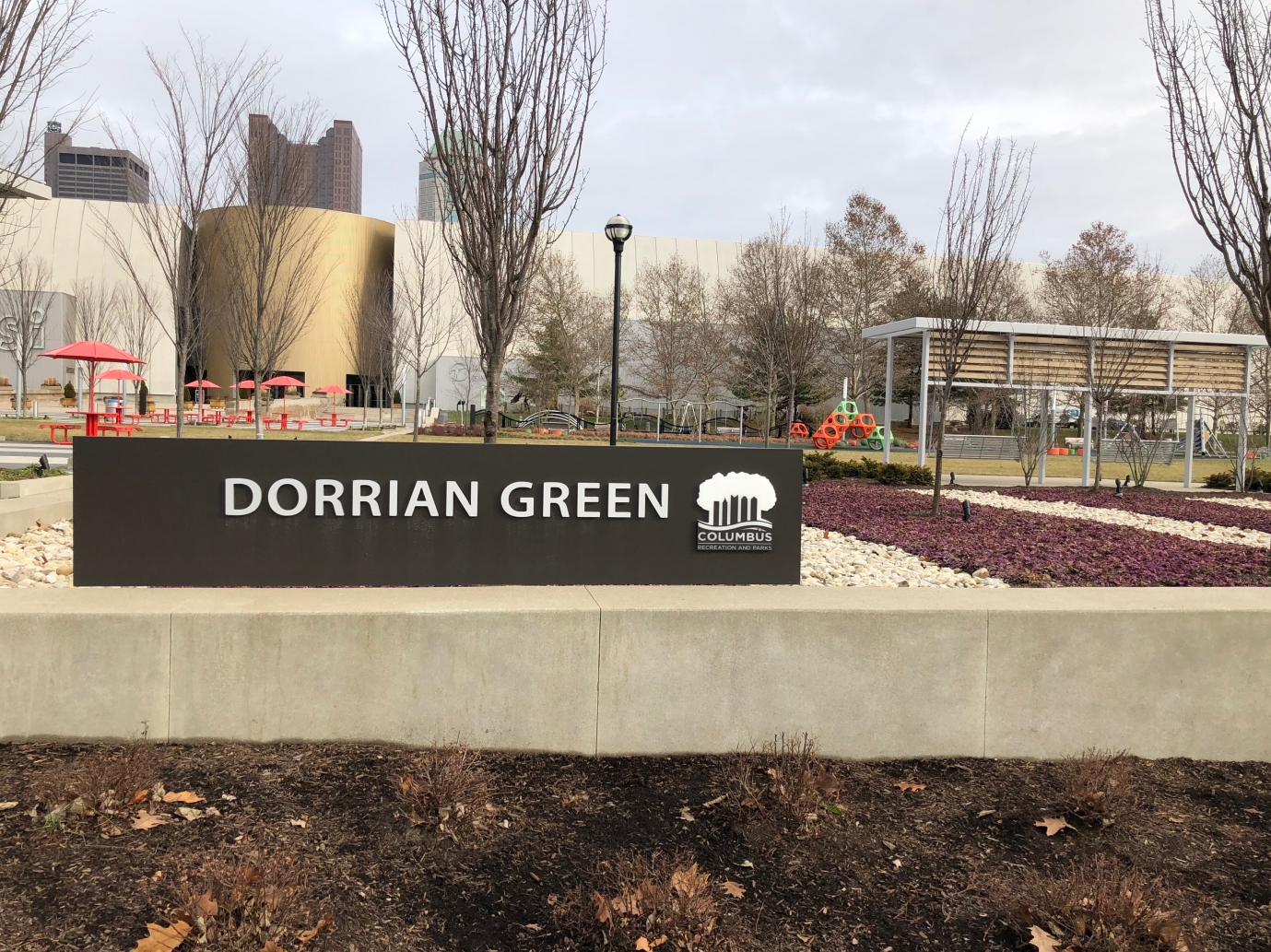 Dorrian Green park and green space outside COSI in Columbus, Ohio