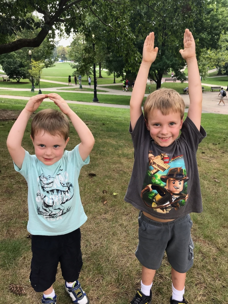 "Kids doing ""O-H' at The Oval on Ohio State University Campus"