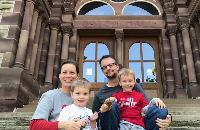 Erin Strouse and family at Orton Hall, Ohio State University Campus