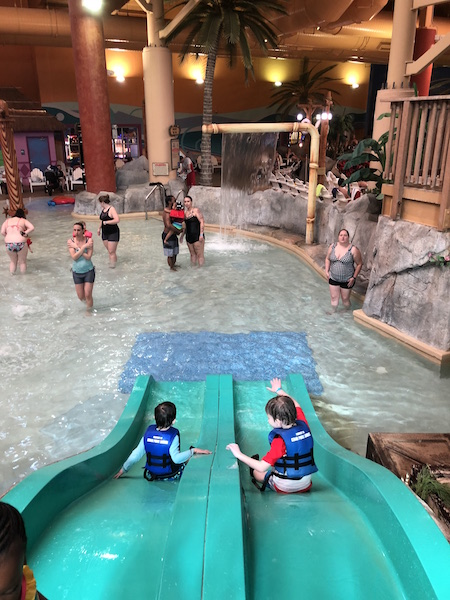 kids on waterslide at Castaway Bay