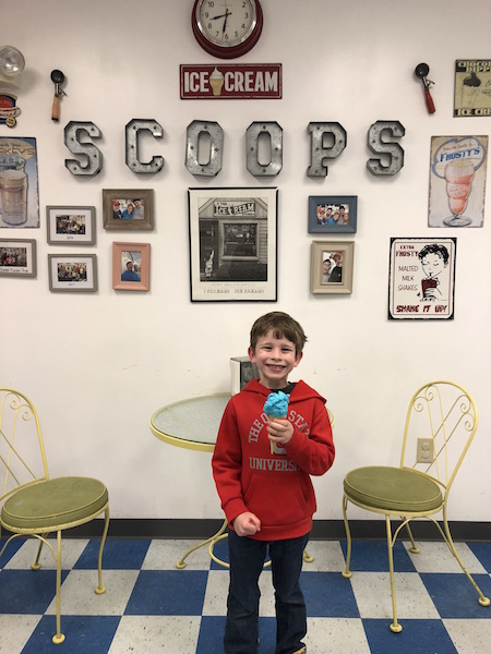 kid eating ice cream at Nancy's Scoops in Lancaster, Ohio