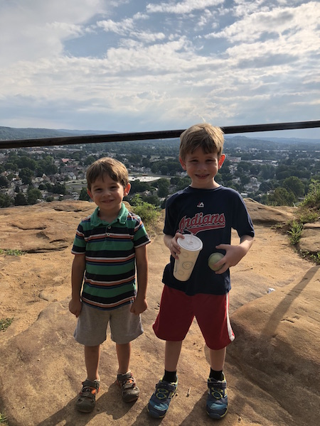 kids at the top of Mt. Pleasant in Lancaster, Ohio