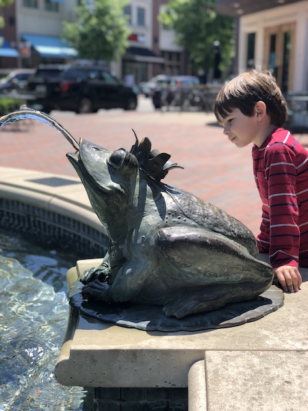 boy at the Frog Fountain, Easton Town Center, Columbus, Ohio