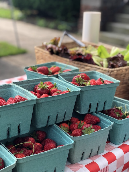 Strawberries at a farmers market in Columbus, Ohio