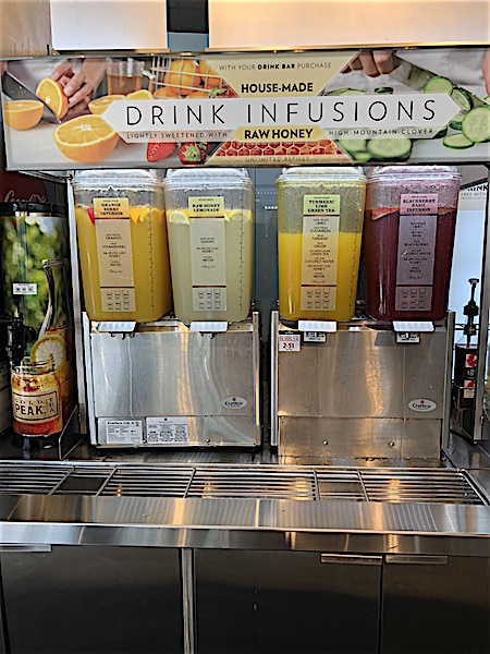 drink infusions at Cafe Zupas at Easton Town Center, Columbus, Ohio