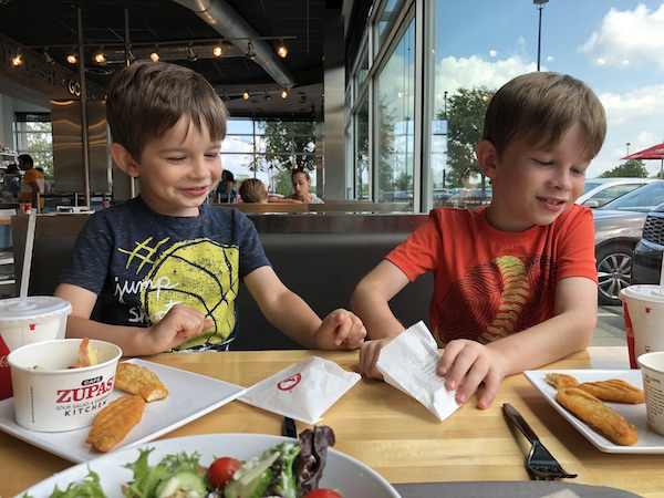 kids eating at Cafe Zupa at Easton Town Center in Columbus, Ohio