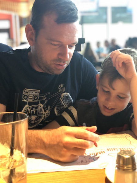 father and son at BJ's Restaurant at Easton Town Center