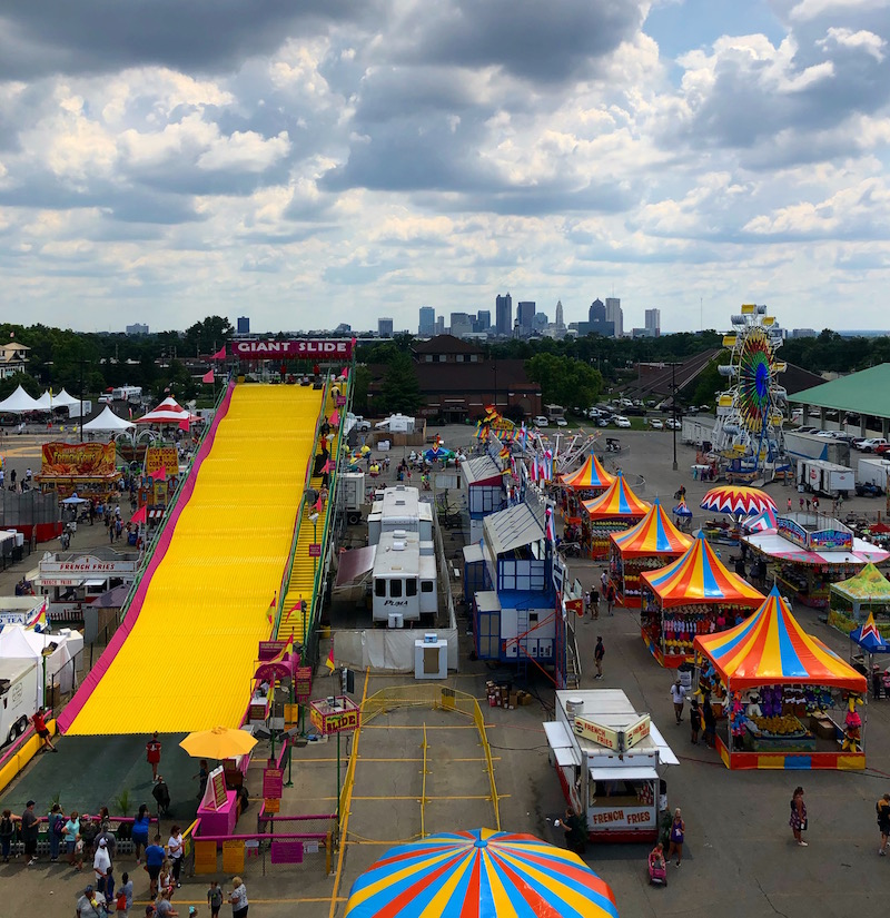 skyline of Columbus Ohio at the Ohio State Fair