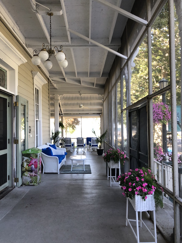 front porch at Hotel Lakeside