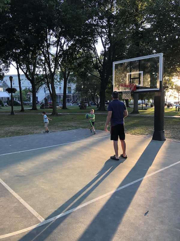 boys playing basketball in Lakeside, Ohio