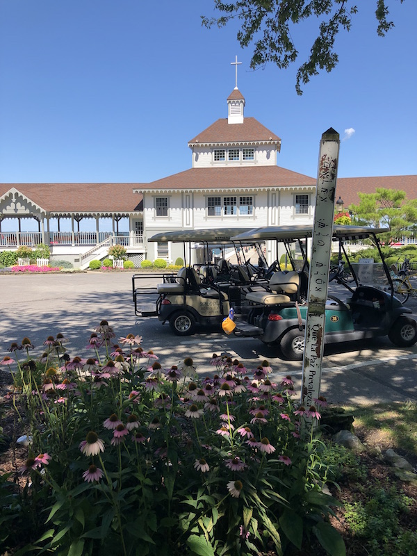 golf carts and flowers at lakeside, Ohio