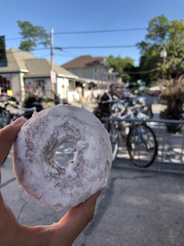 powdered donut from The Patio in Lakeside, Ohio