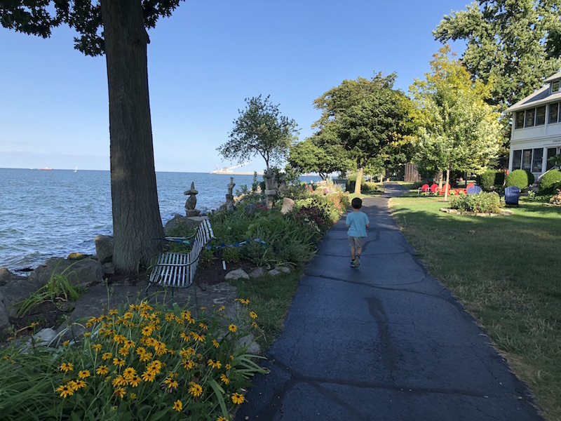 boy walking ohio's most beautiful mile, Lakeside