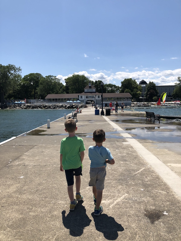 boys on the dock at Lakeside, Ohio