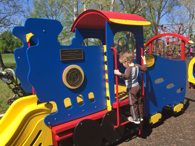 boy on train at playground at Alum Creek North Park, Westerville, Ohio