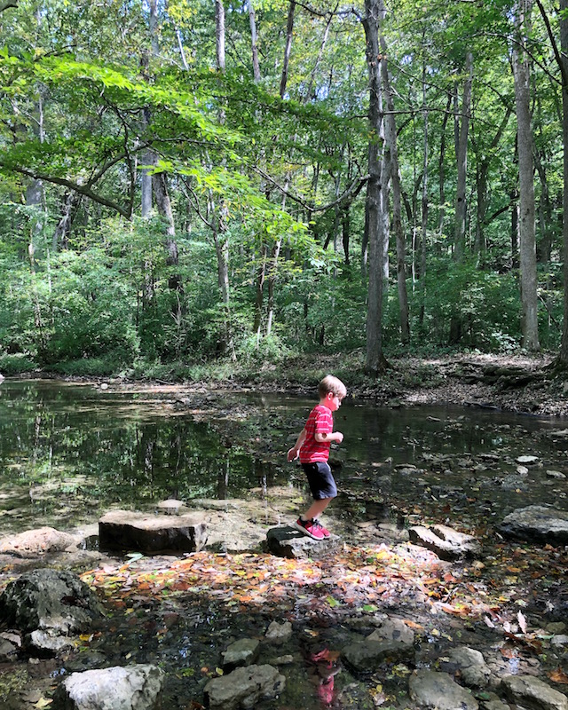 boy hiking in Glen Helen Nature Preserve, Yellow Springs, Ohio