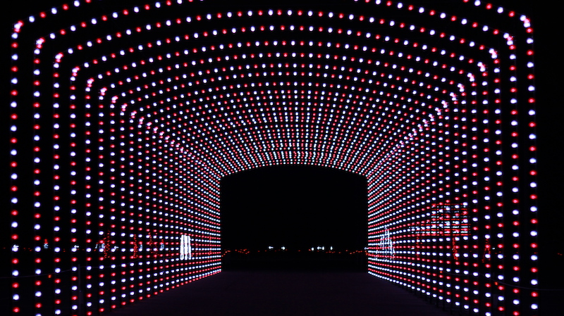 LED Tunnel at Wonderlight's Christmas in Ohio drive through light show in Hebron, Ohio