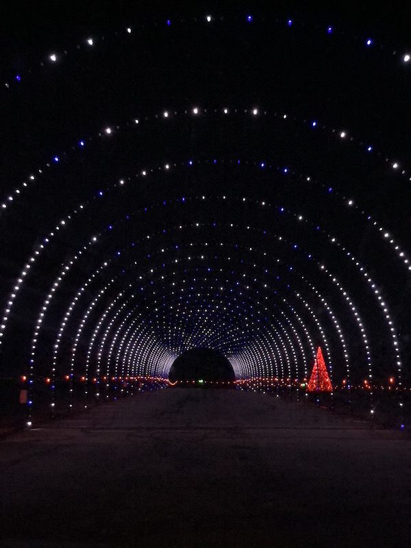 LED tunnel at Christmas in Ohio drive through holiday light display