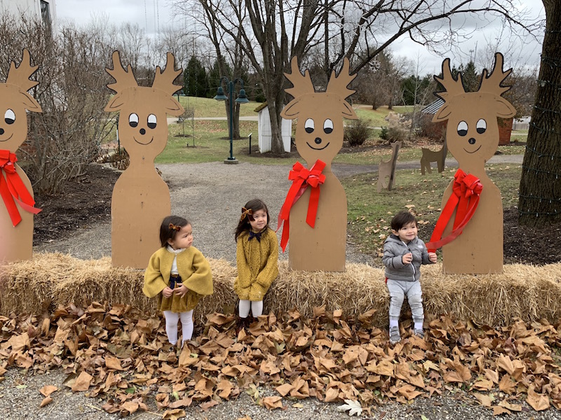 Kids outside the Snowflake Castle in Westerville, Ohio